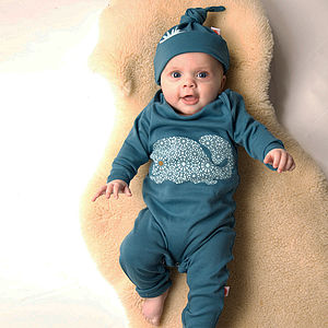 Organic Whale Babygrow On Blue - bodysuits & all-in-ones