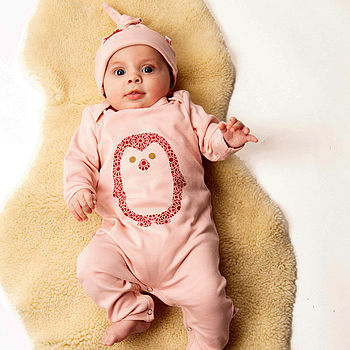 Organic Penguin Babygrow On Powder Pink