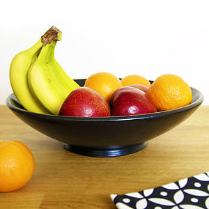 Black Ceramic Fruit Bowl - dining room