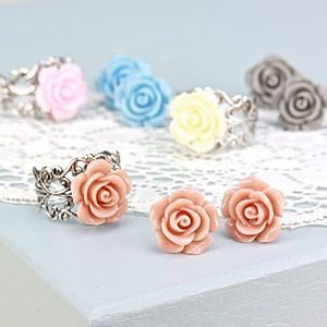 Rose Filigree Ring And Earring Set - rings
