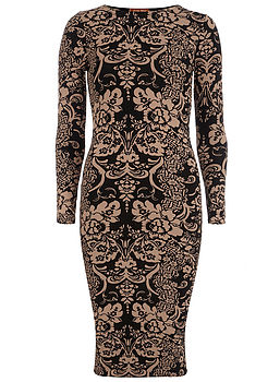 Brown Floral Print Midi Dress Long Sleeves