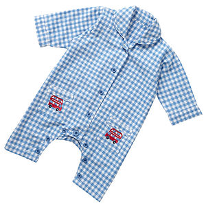 Boy's Gingham Romper Suit - bodysuits & all-in-ones