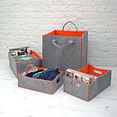 set of 3 baskets and bag - grey and orange