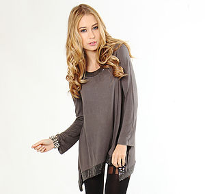 Skull Pattern Sequin Tunic Top - t-shirts, tops & tunics