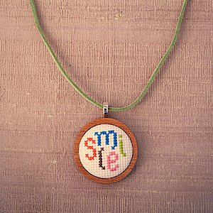 Hand Embroidered 'Smile' Necklace