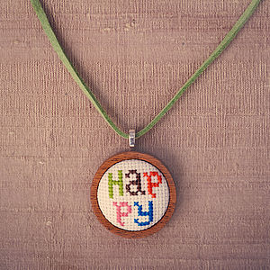 Hand Embroidered 'Happy' Necklace