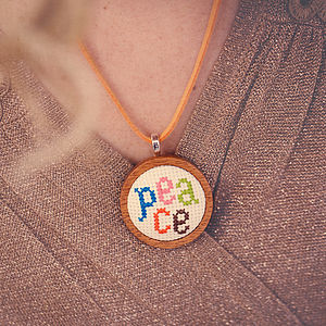Hand Embroidered 'Peace' Necklace - necklaces & pendants