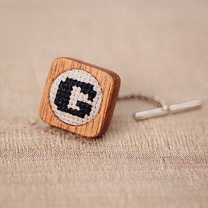 Hand Embroidered Square Initial Tie Pin - tie pins & clips