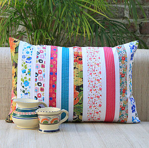 Candy Stripes Floral Cushion - soft furnishings & accessories