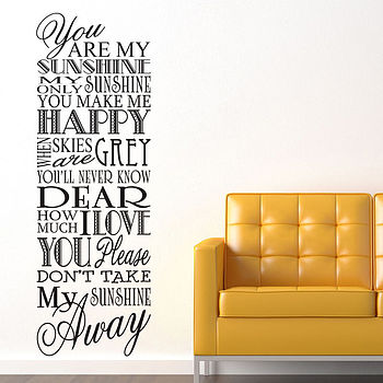 'You Are My Sunshine' Wall Stickers