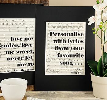 Music Score Sheet Personalised Lyric Artwork