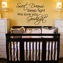 Sleep Tight Goodnight Childrens Wall Stickers