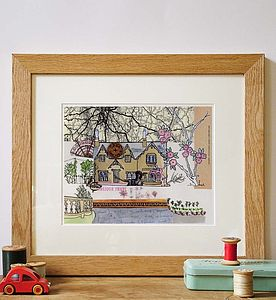 English Cottage Hand Drawn Illustration Print - drawings & illustrations