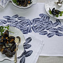 Mussels Fruits De La Mer Table Runner Navy