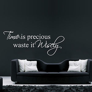 Time Is Precious Quote Wall Stickers - kitchen