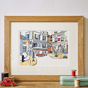 Paris Street Hand Drawn Illustration Print
