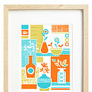 Thumb retro orange floral screen print