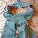 Green with Red and grey stripes 100% wool scarf