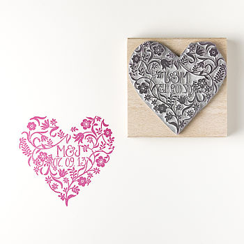 Personalised Flower Heart Rubber Stamp