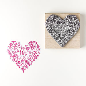 Personalised Flower Heart Rubber Stamp - wedding stationery