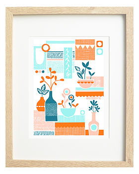 Retro Flowers In Vases Screen Print
