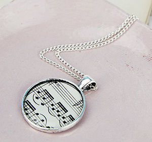 Music Score Sheet Pendant Necklace Circle