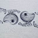 Shell Fruits De La Mer Table Runner Navy