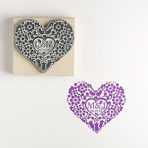 Personalised Two Birds Medium Rubber Stamp - birds & butterflies
