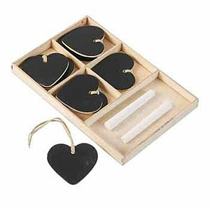 Set Of Eight Blackboard Hanging Hearts - wedding favours