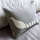 Partridge Family Cushion: pale grey