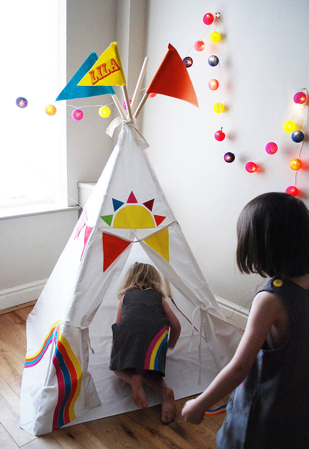 personalised rainbow teepee by wild things funky little dresses. Black Bedroom Furniture Sets. Home Design Ideas