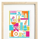 cheerful vases framed