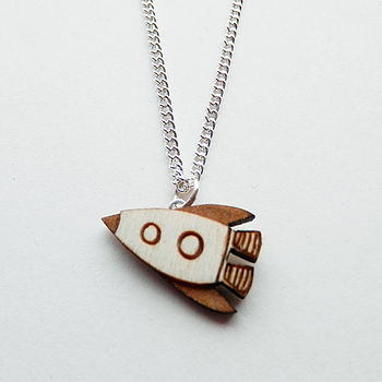 Miniature Rocket Ship Necklace