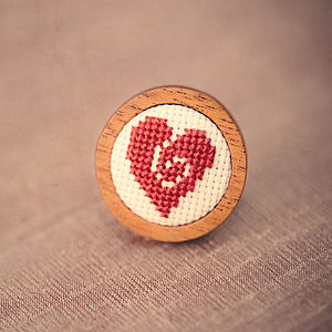 Hand Embroidered Heart Ring - rings