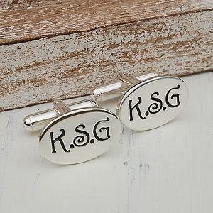 Personalised Silver Oval Initial Cufflinks - cufflinks