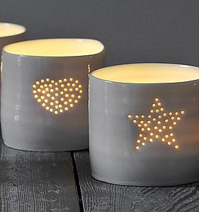 Porcelain Full Heart Tea Light - votives & tea light holders