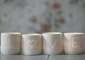 Set of Love Porcelain Tea Lights