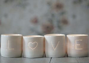 Set of Love Porcelain Tea Lights - table decorations