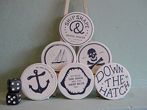 Pack Of Six Drunken Sailor Coasters - tableware