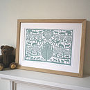 lake green in oak frame