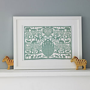 Personalised Noah's Ark Heart Print - christening gifts