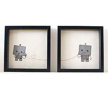 Set Of Two 'Robot Love' Pictures