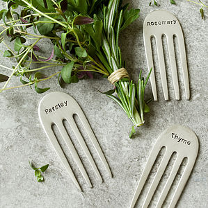 Silver Plated Fork Herb Markers - gifts for her