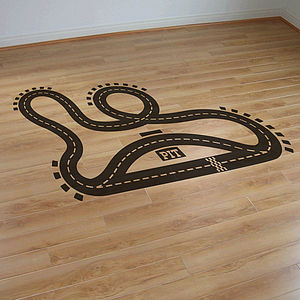 Racetrack Vinyl Floor Sticker - living room