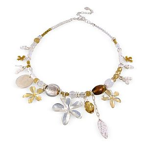 Beaded Necklace With Enamel Flower - necklaces & pendants