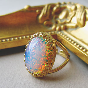 Galactic Glass Fire Opal Ring - rings