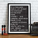 Personalised Airport Destination Print - Black & White