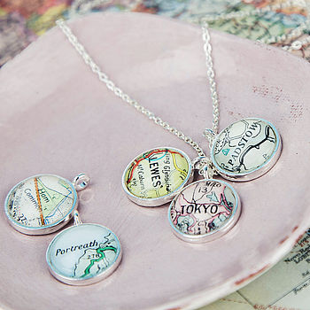 Map Personalised Charm Cluster Pendant