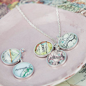 Map Personalised Charm Cluster Pendant - women's jewellery