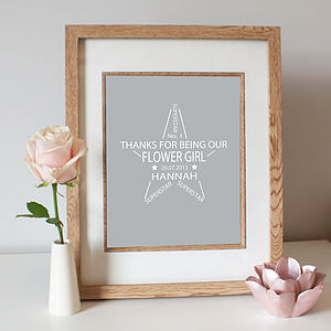 Flower Girl Personalised Star Print - wedding thank you gifts